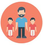 Father, toddlers That can be easily edited in any size or modified. royalty free illustration