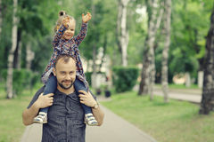 Father travels with  daughter Royalty Free Stock Photos