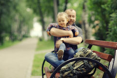 Father travels with  daughter Stock Photography