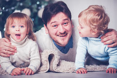 Father with twins Royalty Free Stock Image