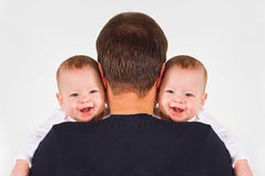 Father and twins Royalty Free Stock Photos