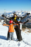 Father with two boys in moutains Royalty Free Stock Photos