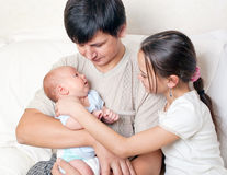 Father and two children Royalty Free Stock Photo