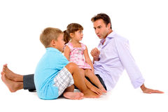 Father with two children Stock Images