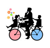 Father and two children. Vector  Illustration of Silhouette of Father and two children - boy and girl on bicycle Royalty Free Stock Photo
