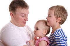 Father with two children royalty free stock photos