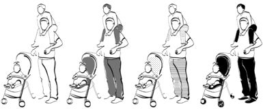 Father with two children royalty free illustration
