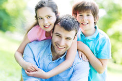 Father with two children Royalty Free Stock Photography