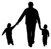 Father with two children  on white Royalty Free Stock Photo