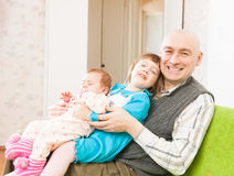 Father and two little daughters Royalty Free Stock Image