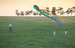 Father and two sons flying kite together on green field in evening Royalty Free Stock Photos