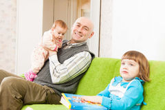 Father and two young daughters Stock Image