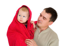 Father and under red towel son together. Isolated on white Royalty Free Stock Images