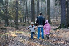 Father Walking With Children In Forest Royalty Free Stock Photography