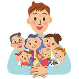 Father who hugs a family Royalty Free Stock Photography