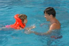 Free Father With Child In Pool Royalty Free Stock Image - 13385456