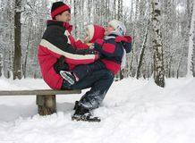 Free Father With Children On Snow Stock Photo - 1729580