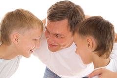 Father With His Two Sons Stock Photos