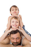 Father With His Two Sons Lying Royalty Free Stock Images
