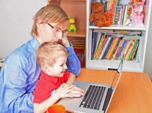 Father working from home Royalty Free Stock Photo