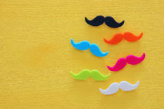 Father& x27;s day concept. Hipster colorful and funny moustache Stock Photos