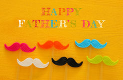 Father& x27;s day concept. Hipster colorful and funny moustache Royalty Free Stock Images