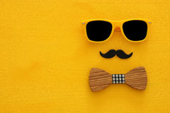 Father& x27;s day concept. Hipster yellow sunglasses and funny moustache Royalty Free Stock Photo