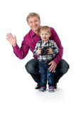 Father and young son with a camera Royalty Free Stock Photo