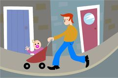 Fatherhood. Father taking baby out in the pushchair Stock Image
