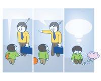 Fatherhood Cartoon. A comic cartoon about a father and son Stock Image