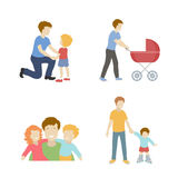Fatherhood  color flat icons set father playing with children   illustration. Royalty Free Stock Image