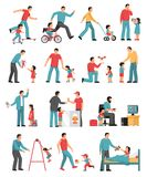 Fatherhood Colored Icons Set. Fatherhood colored set of dad playing with his little children indoor and outdoor isolated vector illustration Stock Image