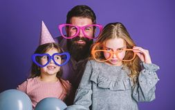 Fatherhood concept. Friendly family wear party accessories. Best dad ever. Fathers day. Daughters need father actively. Interested in life. Birthday party. Join stock images