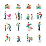 Fatherhood Flat Icons Stock Image