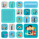 Fatherhood Flat Icons Set Royalty Free Stock Photos