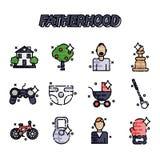 Fatherhood flat icons set Stock Image
