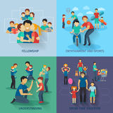 Fatherhood Flat Set Stock Images