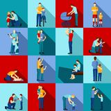 Fatherhood flat set Royalty Free Stock Images