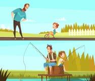 Fatherhood 2 Retro Cartoon Banners Stock Photos