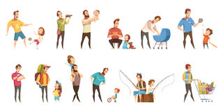 Fatherhood Retro Cartoon Icons Set. Fatherhood child-rearing shopping playing walking fishing with kids retro cartoon icons 2 banners set  isolated vector Royalty Free Stock Image