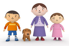 Fatherless family. Family of three. Single mothers. Mother, son, daughter, families with dogs. Spend a fun time. Cute pet Royalty Free Stock Photos