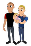 Fathers with an adopted baby cartoon royalty free stock photo