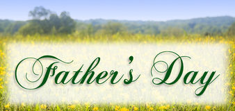 Fathers Day. In elegant type on a meadow background Stock Photos