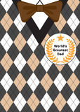 Fathers Day on argyle background. Greeting card for Fathers Day on argyle background with bow-tie and label Best Dad Royalty Free Stock Photo