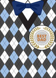 Fathers Day on argyle background. Greeting card for Fathers Day on argyle background with bow-tie and label Best Dad Stock Image