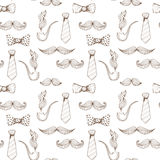 Fathers day background. Bow Tie and Moustache Seamless Pattern. Vector stock illustration