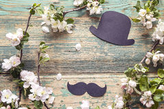 Fathers day background with cardboard hat and mustache and apple Royalty Free Stock Photography