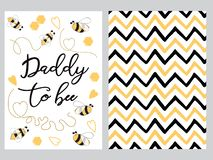 Fathers day banner design set text Daddy to bee decorated bee, zig zag ornament card poster logo. Fathers day banner design set with text Daddy to bee with cute stock illustration