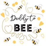 Fathers day banner design with text Daddy to bee decorated trace bee hearts love ornament card poster logo. Fathers day banner design with text Daddy to bee royalty free illustration