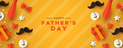 Fathers Day banner of paper icons for dad holiday stock image